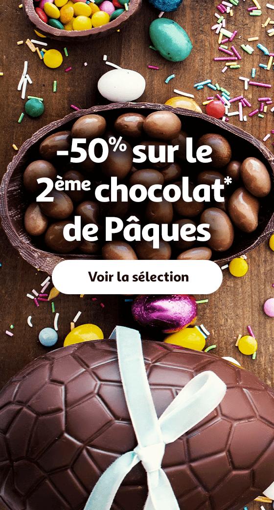 -50% sur le 2ème chocolat de Pâques